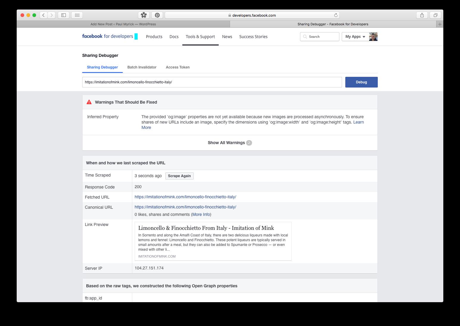 Facebook's Sharing Debugger