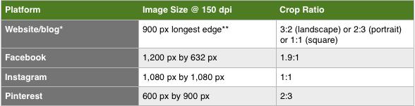 Image Sizes & Crops For Website & Social Media Posting