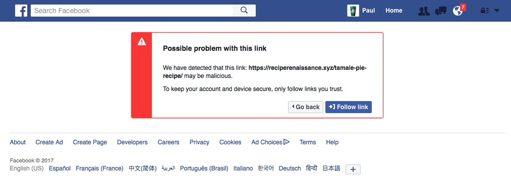 - Myrick Warning Malicious Facebook Paul The Dreaded Resolving Link