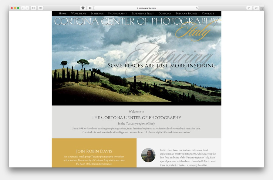 Cortona Center of Photography Website Image